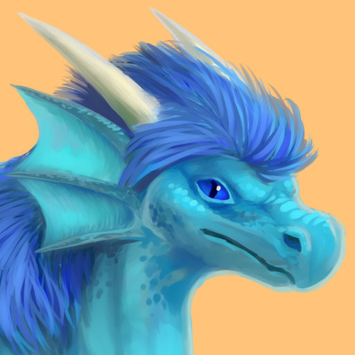 Portrait of ECrownofFire, a blue-scaled dragoness with a dark blue mane.